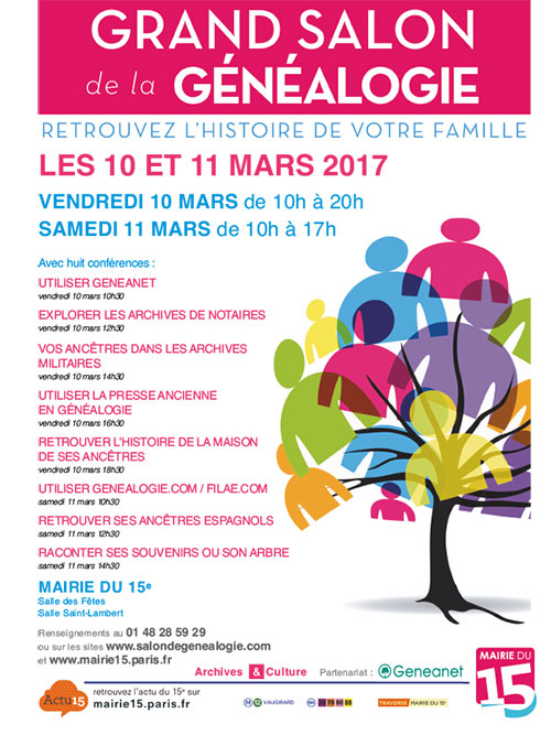 Le cgptt au salon de g n alogie de la mairie de paris 15e for Salon paris mars 2017